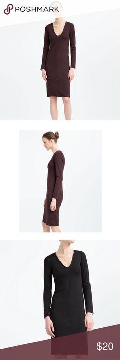 NWT Zara Fitted Dresses 🔥Bundle Deal🔥 NWT Zara Mid Length dresses size Medium. V-Neck, long sleeves. Dark Maroon & Black. Outer shell 82% polyester, 13% viscose, 5% elastane. Zara Dresses Long Sleeve