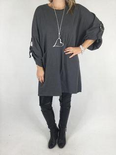 Lagenlook Ring Sweatshirt in Charcoal. code 4745