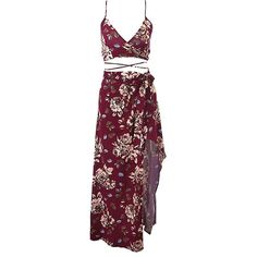 Burgundy Floral Skirt Co-Ord Set Lookbook Store (€27) ❤ liked on Polyvore featuring dresses, skirts, two piece, long dresses and floral two piece