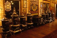 Rusty Iron Ranch Antique Stoves: Rusty Iron Ranch - Display of stoves