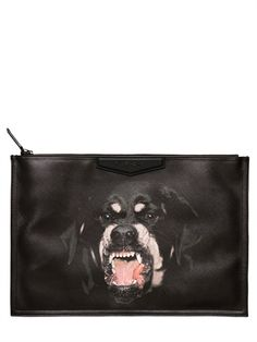 GIVENCHY - LARGE ROTTWEILER PRINT PVC CLUTCH - LUISAVIAROMA - LUXURY SHOPPING WORLDWIDE SHIPPING - FLORENCE $340