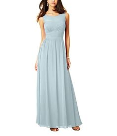 Stylist NotesI love the illusion neckline and ruched waistline that pulls across the ribcage to really emphasize that hourglass shape. -ShannonDescriptionAlfred Angelo Style 7298LFull length bridesmaid dressHigh illusionneckline over sweetheart bodiceNatural waist, shirred a-line skirtChiffonLongThis beautiful full length bridesmaid dress features a sheer, illusion yoke in the scooped neckline. The fitted bodice meets an a-line skirt at the natural waistline.