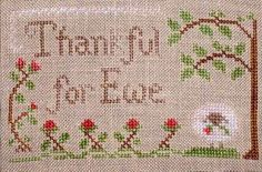 Thankful Freebie cross-stitch chart with full instructions by Little House Needleworks and Crescent Colors