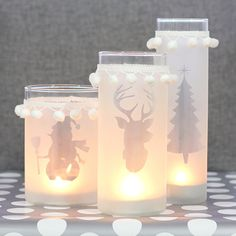 If Frosty the Snowman made some Christmas candle vases..(DIY.. uses spray glass frosting)