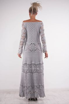 Crochet lace off shoulder dress grey maxi dress long sleeves
