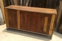 Custom Rustic Modern/ Industrial Reclaimed Wood Buffet Cabinet / Credenza…
