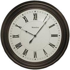 """WESTCLOX 32223 16"""" Round Bronze Oil Rub Case Finish Clock  #32223 #Bronze #Case #Clock #Finish #Round #RusticWallClock #Westclox The Rustic Clock"""