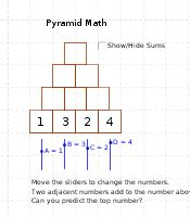 Pyramid Math - Two adjacent numbers add to the number above. Can you predict the top number?