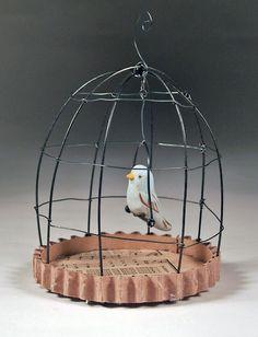 Mini Birdcages with ceramic birds - The Hutch Studios