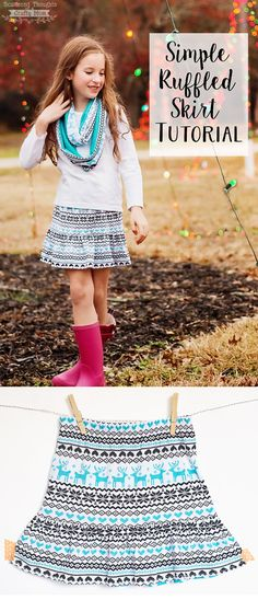 Instructions to make this easy Ruffle Bottom Knit Skirt. Tutorial includes measurements for sizes 3 to 10.
