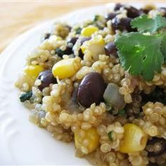 Quinoa and Black Beans Allrecipes.com...made this tonight using dry beans instead of canned and skipped the corn. Delicious! High protein and fiber, low fat. Plenty leftover for lunch this week.