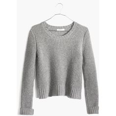 MADEWELL Crop Pullover ($70) ❤ liked on Polyvore featuring tops, sweaters, crop, hthr medium grey, grey sweaters, cut-out crop tops, grey crop top, grey cropped sweater and grey pullover sweater