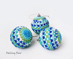 Decorations, Crochet, Christmas Ornaments-Tree Decorations-Crocheted Baubles-Crochet Ornament, Red, Colourful, Home Decor by FallingDew on Etsy