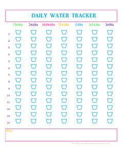 Free Printable Daily Water Intake Schedule - I put this on my fridge to easily keep track of how many cups I'm drinking every day!