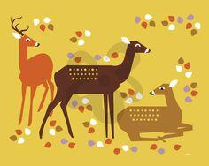 Forest Deer - Animals Canvas Wall Art.  ARTIST ELEANOR GROSCH