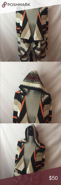 Open fun print sweater Beautifully detailed open front hooded sweater. confess Sweaters