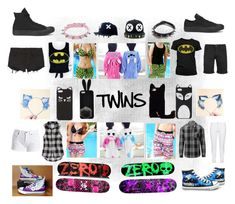 """Twins"" by creepy-kitten-3327 ❤ liked on Polyvore featuring Ksubi, SELECTED, Forever 21, American Eagle Outfitters, Converse, Zero, Steilmann, Barbour International and WithChic"