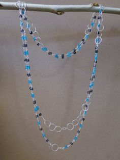 Blue Apatite, Iolite, and Sterling SIlver necklace. www.sarahwalkerjewelry.com