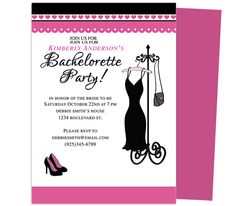 The little black dress lbd invitations for bachelorette parties printable bachelorette party invitations templates hearts bachelorette party invitation template stopboris Images