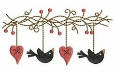 Folk Hearts 9 - 4x4   Primitive   Machine Embroidery Designs   SWAKembroidery.com Ace Points Embroidery