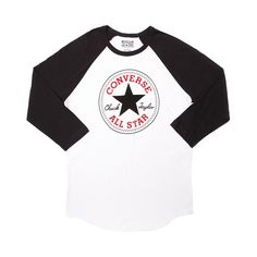 Shop for Mens Converse Chuck Patch Raglan Tee in Black White at Journeys Shoes. Shop today for the hottest brands in mens shoes and womens shoes at Journeys.com.Theres nothing quite like repping a classic brand. What better than Converse and the one and only Chuck Taylor All Star?! White and black cotton raglan tee with centered Converse All Star patch graphic. Available only at Journeys! Available for shipment in November; pre-order yours today!