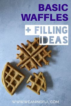 These basic waffles are a great way to introduce solids to your baby as they can be adapted and filled with almost everything from fruits and veggies to nuts and herbs and spices. Easy Snacks For Kids, Healthy Meals For Kids, Dinners For Kids, Meals For One, Easy Healthy Recipes, Baby Meals, Kid Meals, Baby First Foods, Baby Finger Foods