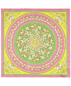 Pink Circle Leaf Baroque Print Silk Scarf, Versace. Paisley Scarves, Silk Scarves, Pocket Squares, Bandanas, Versace Scarf, Versace Pink, Designer Scarves, Circle Scarf, Scarf Design
