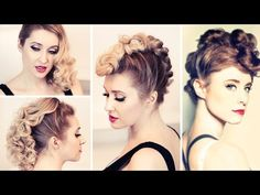 ▶ 3-in-1 hair tutorial: Kiesza'a faux hawk hairstyle, retro curls, glam rock updo for medium long hair - YouTube