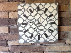 Clock Wood wall clock painted Moroccan by HendryxHouseDesigns, $25.00
