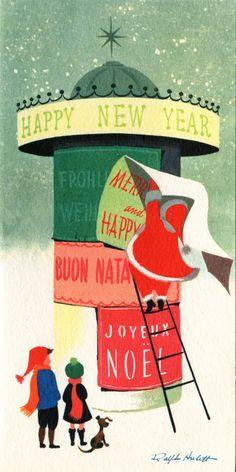 (via La Pequeña ciudad de P.: De Postales y Buzones XXIII)  I love Ralph Hulett's Christmas card illustrations.