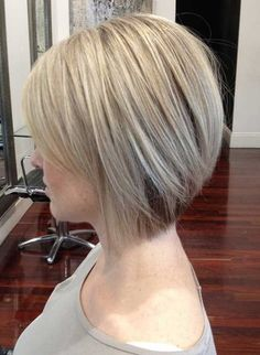 Cute short bob hairstyle for 2015 Here's a super-trendy cut that suits a lot of different hair textures, including fine hair because of the precision cutting that creates the distinctive shape. There is a strong focal point at the back with shorter hair that is tinted a dark-blonde shade for added emphasis. Then the outline[Read the Rest]