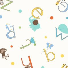 Nursery Fabric- Alphabet Zoo Toss, , hi-res