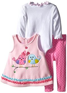 Bonnie Baby Baby Girls Lovebird Appliqued Fleece Legging Set Pink 18 Months * Be sure to check out this awesome product.