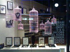 Repurpose birdcages as display cases. #repurpose #visual #display