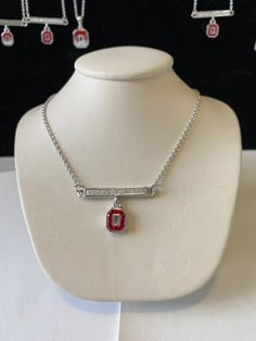 Ohio State Bar Necklace Bar Necklace, Arrow Necklace, Necklaces, Red Bottoms, Ohio, Red And White, Jewels, Sterling Silver, Crystals