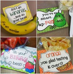 O-H So Blessed! Healthy testing treat notes to motivate and nourish your students during testing. Several student fruits included.