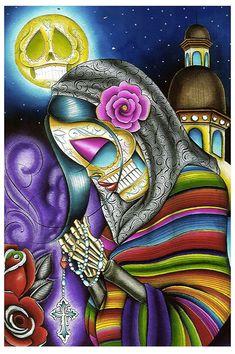 Purple Leopard Boutique - Pray For Us by Dave Sanchez Fine Art Print Day of the Dead Sugar Skull, $24.00 (http://www.purpleleopardboutique.com/pray-for-us-by-dave-sanchez-fine-art-print-day-of-the-dead-sugar-skull/)