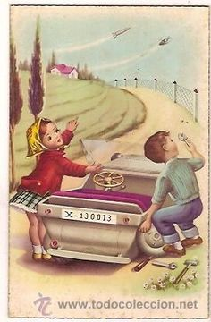 ANTIGUA POSTAL 2310 F DOS NIÑOS REPARANDO EL AUTO ESCRITA (Postales - Niños)