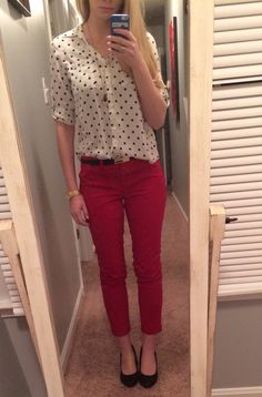 Work outfit. Express polka dot portofino blouse, The Limited red chino ankle pants, Express black pumps, Kate Spade watch, Cache belt, Red Dress Boutique necklace.