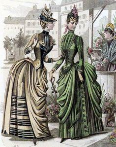 The era bustle. Daytime dresses, about 1886 1880s Fashion, Edwardian Fashion, Vintage Fashion, Women's Fashion, Victorian Women, Victorian Era, Victorian Costume, Daytime Dresses, Evening Dresses