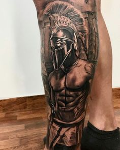 What does gladiator tattoo mean? We have gladiator tattoo ideas, designs, symbolism and we explain the meaning behind the tattoo. Warrior Tattoo Sleeve, Leg Sleeve Tattoo, Warrior Tattoos, Leg Tattoo Men, Best Sleeve Tattoos, Badass Tattoos, Tattoo Sleeve Designs, Leg Tattoos, Body Art Tattoos