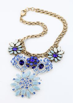 Light Blue And Purple Alloy Necklace With Big Pendant $26.98