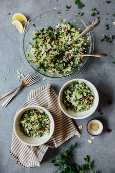 Gluten Free Cauliflower Tabbouleh.  Just the smell of the fresh parsley and cilantro in this recipe takes me back to my grandmother's kitchen in Israel. Combine  incredibly refreshing ingredients with a flavorful, lemony dressing, and you've got an irresistible lunch or side dish.