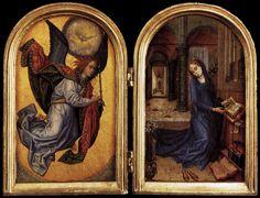 UNKNOWN MASTER, Flemish The Annunciation 1490s Oak, 18 x 13 cm Staatliche Museen, Berlin