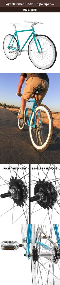 Zydek Fixed Gear Single Speed Fixie Road Bike with Flip Flop Hub, Medium (54cm), Teal and White. Your ride, your rules! Developed by a group of avid cyclists, Zydek bicycles, provides a dedicated service to those looking to purchase a new bike whether it be for recreation, a new found goal for health and fitness, or as an alternative source of transportation. Our fixed gear bike is the perfect choice for those looking to commute to work, school, or around your favorite city, town, or...