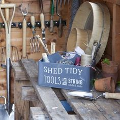 Enamelled Steel Shed Tidy From The Burgon & Ball Collection. This stylish shed tidy from Burgon & Ball, will help any gardener keep their tools, rags, string and bits & bobs tidy and to hand. #storage #gardening