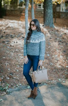 Fair Isle Turtleneck | A Southern Drawl. Blue turtleneck printed knit sweater+skinny jeans+brown lace-up suede ankle boots+beige handbag+sunglasses. Fall Casual Outfit 2016