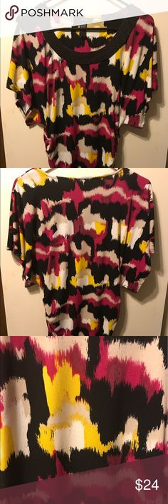 Alfani Ruched Pink Black Yellow Top Size Small Alfani Ruched Pink Black Yellow Top Size Small with Beaded Color.  95% Polyester and 5% Spandex Excellent Condition Worn Few times. Looks great with Black leggings Alfani Tops Blouses