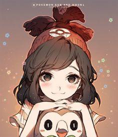 Tags: Anime, 河CY, Pokémon, Female Protagonist (Pokemon Sun/Moon), Rowlet, Side Bangs, Outline