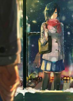 Kirishima Touka, snowing, winter, Kaneki; Tokyo Ghoul